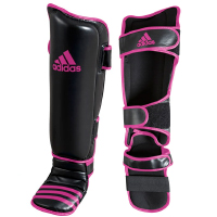 Adidas Scheen- En Wreefbeschermers Economy Zwart/Roze L/XL
