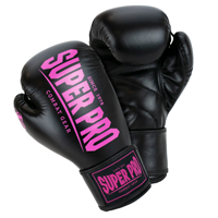Super Pro Muay Thai Gants de Boxe Champ Noir/Rose 14 oz