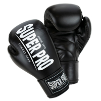 Super Pro Muay Thai Guanti Da Boxe Champ Nero/Bianco 16 oz