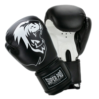 Super Pro Muay Thai Guanti Da Boxe Talent Nero/Bianco 4 oz