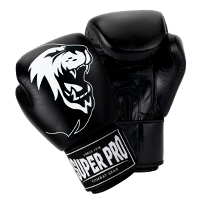 Super Pro Muay Thai Guanti Da Boxe Warrior Nero/Bianco 16 oz