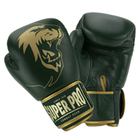Super Pro Warrior SE Gants de Kickboxing en Cuir Vert/Or 14oz